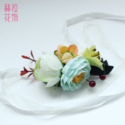 New little flowers bride wedding bridesmaid flower fresh flower wrist bracelets show exhibition opening business