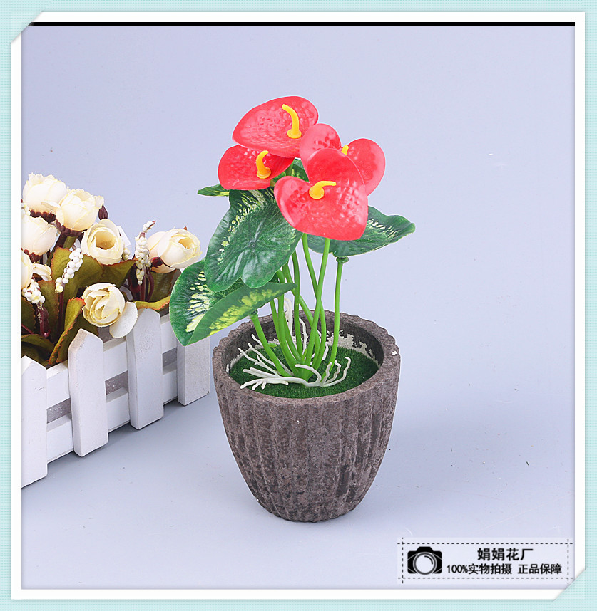 仿真红掌小盆景带盆仿真植物盆栽批发假花装饰花花坛布置