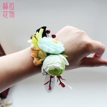 New little flowers bride wedding bridesmaid flower fresh flower wrist bracelets show exhibition opening business