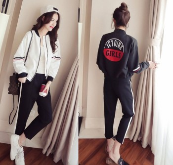 New Korean casual relaxed sportswear baseball suit jacket trousers two piece set