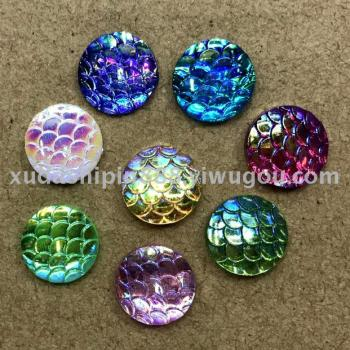 Resin resin accessories drilling plated snake leather effect AB color at the end of circular
