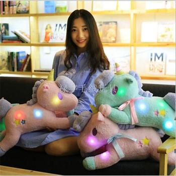 LED colorful glowing a lovely Unicorn figurines plush doll animal pony lover