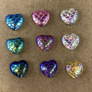 End of resin diamond plated resin accessories snake leather effect AB color heart