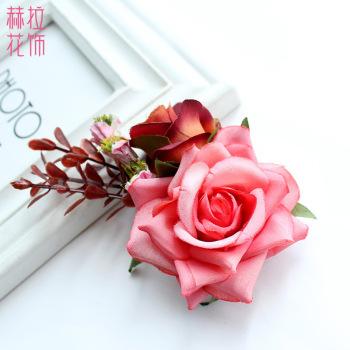 New wholesale fresh simulation flower flower head pin European and American bridal wedding fashion hair accessories