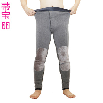 Winter men's high waist with velvet padded pants three-layer knee pads belt warm pants