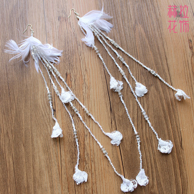 Bridal wedding jewelry Crystal feather ultra long earrings earring flow Su Er ornaments dress accessories