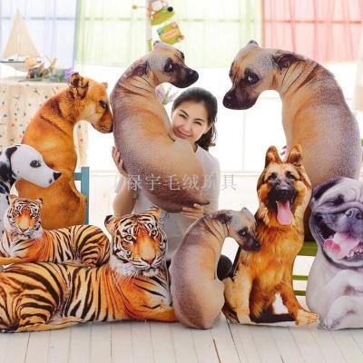 Creative 3D simulation head dog Dalmatian Tiger doll plush toys hanging pillow cushion