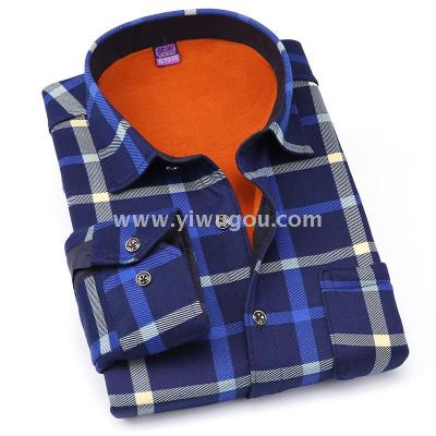 2017 fall/winter men's stay warm Plaid thermal underwear shirt and velvet padded printing business