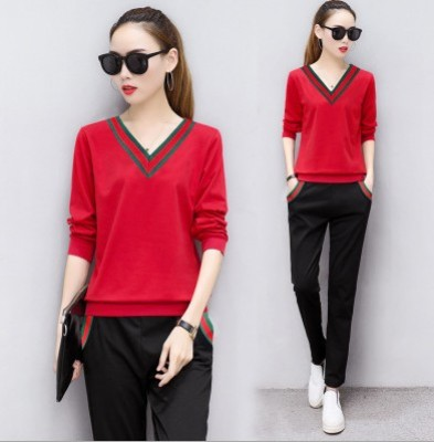 Long sleeve v neck t shirt sportswear suits, two-piece slim slim leisure sweater