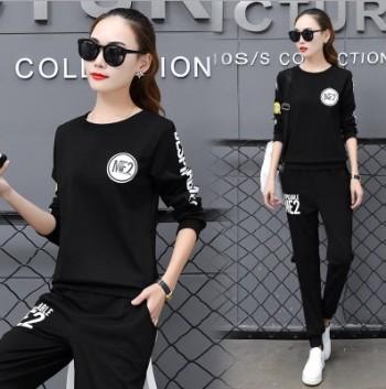 Korean leisure sportswear women's new crew neck long sleeve slim sweater twin set