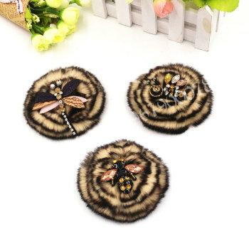 Thickening diameter 10CM rex Rabbit Hair plate flower woolen coat hat fur accessories apparel shoes and hats Accessories