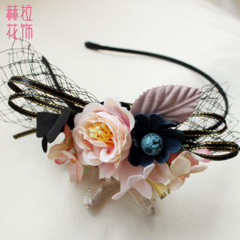 Japanese and Korean simulation rose children's hair accessories flower headband tiara handmade flower fashion jewelry