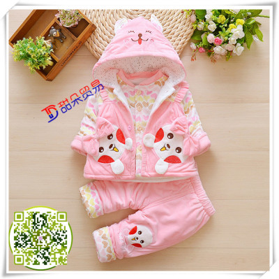 Girls' autumn and winter wear 0*1*2 years old 3*6*8*9 months baby clothes baby princess clothes 3 suits