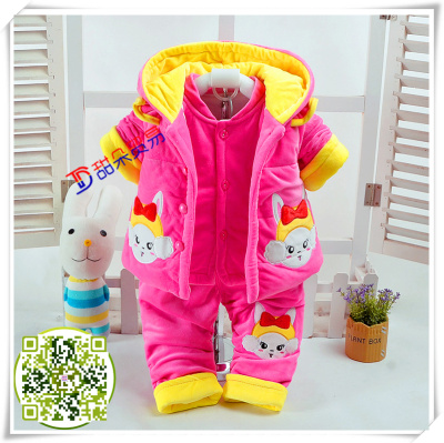 Red mud rabbit lovely princess winter outfit autumn coat with cotton dress, rabbit three pieces of baby clothes