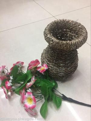 Boutique European-style hand-friendly process large vases handmade woven grass vase wholesale