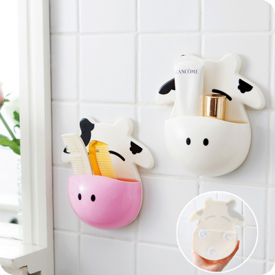 cartoon cow toothbrush holders bathroom wall mounted toothpaste holder storage box hole  dental toothbrush