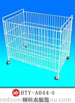 New wire clothes basket white plastic laundry basket racks