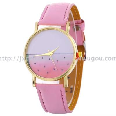 Burst watermelon pattern strap watch simple student watch