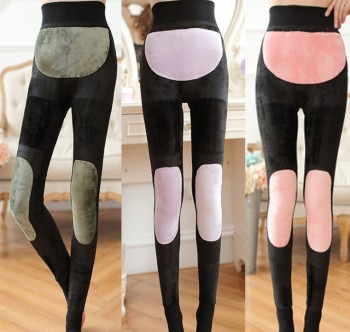 Knee Patch Gold warm in Winter Palace women plus velvet padded nylon foot one warm pants plus size pants