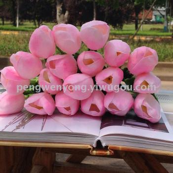 Artificial flower mini decorative small vases of tulips placed fake flowers PU table flowers