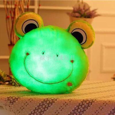 LED colorful light pillow plush stuffed animal monkey cat Panda frog head pillow new