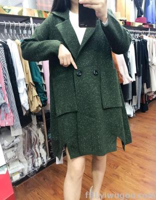 New winter wool coat long coat loose Pocket long sleeves irregular hem Cardigan