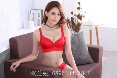 6895 sexy lace deep v rims Bras collecting milk-free adjustable gathered bra