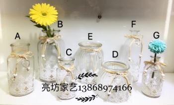 Glass crafts lace linen decorative vases