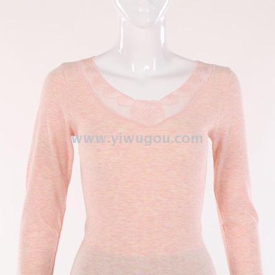 Thin seamless lace underwear women autumn clothing long Johns thermal underwear set