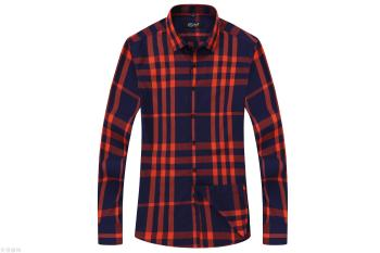Men's men's shirt casual style Korean edition of the autumn new all cotton checked shirt