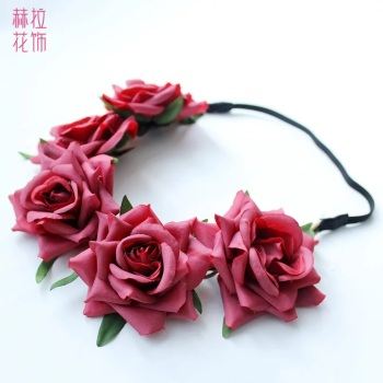Europe and best selling DIY hair accessories headband hand simulation Roses Flower lead in jewelry Lady flower