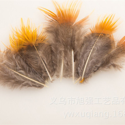 Manufacturers supply craft pheasant feather hair accessories to chicken feathers yellow yellow