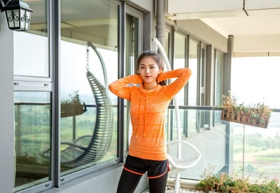 Fall/winter hoodies thickening female sports long sleeve Cardigan breathable fitness running Yoga