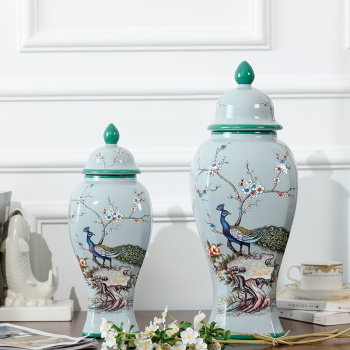 New home accessories/light blue que SI series large spire can storage jar crafts/ceramic ornaments