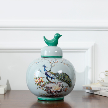 New home accessories/SI small bird, Blue Bird ceramic canister Cap Tan/arts and crafts ornaments