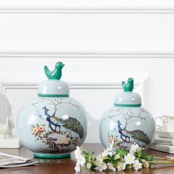 New home accessories/light blue bird thought big bird top/ceramic storage jar crafts ornaments