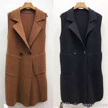 2017 new winter jacket double-faced cashmere-like Joker slim long double Pocket coat