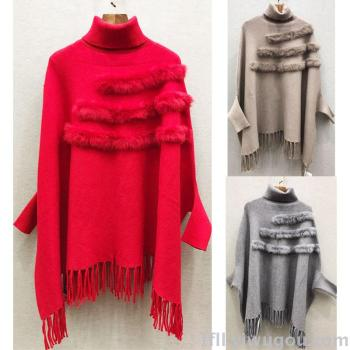 Long Cape fur collar Cape with sleeves fringed warm thick knit sweater