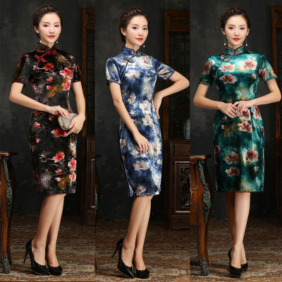 Good fall/winter clothing new collar short sleeve double velvet long Chinese dress cheongsam