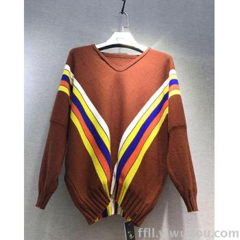 New v-color Strip sweater mosaic knitting shirt loose long sleeve women's warm jacket