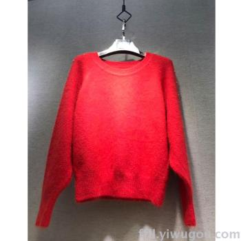New faux rabbit fur sweater in the winter European and Korean fashion nail bead long sleeve sleeve knit loose frock