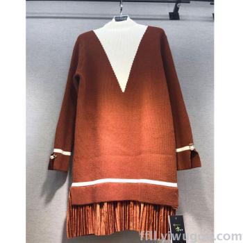 European and Korean fashion sweater hem with gold velvet skirt loose long-sleeve knit blouse