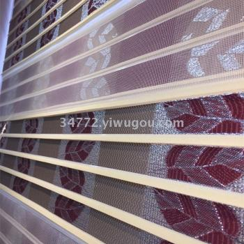 Bronzing dust with embroidery bead curtain double soft sand blinds