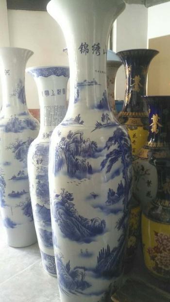 Vase vases Jingdezhen arts and crafts furnishings vase green vase, floor vase