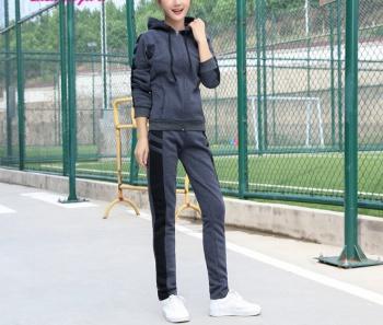 Casual sportswear for fall/winter new stylish slim add flocking thick sweater women's plus size two-piece boom