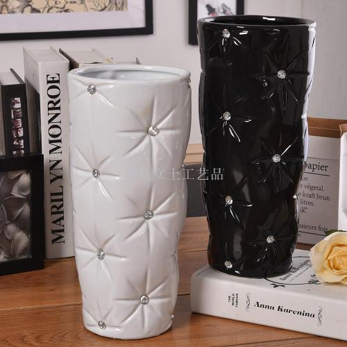 European hand-pasted drilled vases home decoration of pottery decoration
