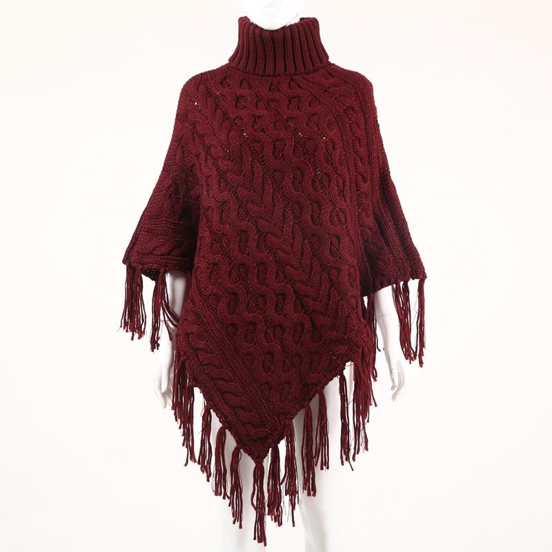 高领套头女毛衣中长款流苏披肩斗篷针织衫
