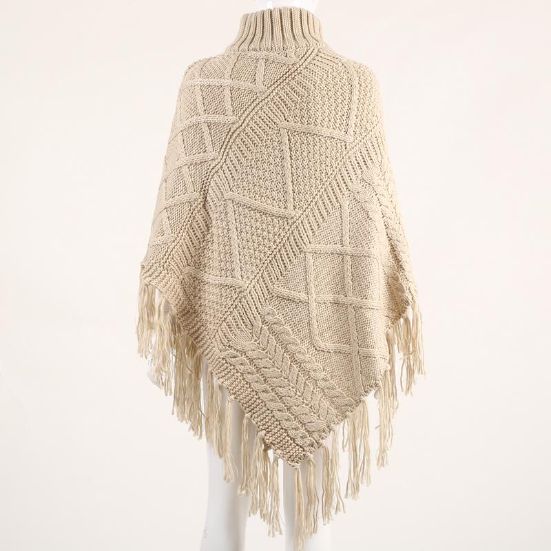 女装高领针织衫斗篷披肩秋冬长款流苏毛衣外套
