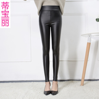 Pu the end of autumn and winter plus velvet high waist matte leather pants woman wearing leggings