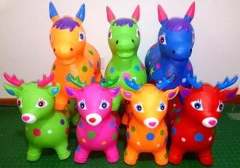 Plastic Trojan child baby thicken more colorful inflatable toys music Vault jump jump a deer Fawn dog
